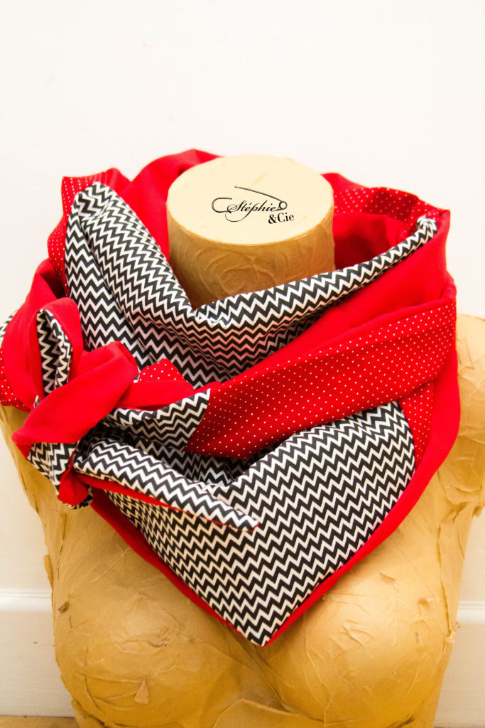 cheche patchwork femme noir et rouge
