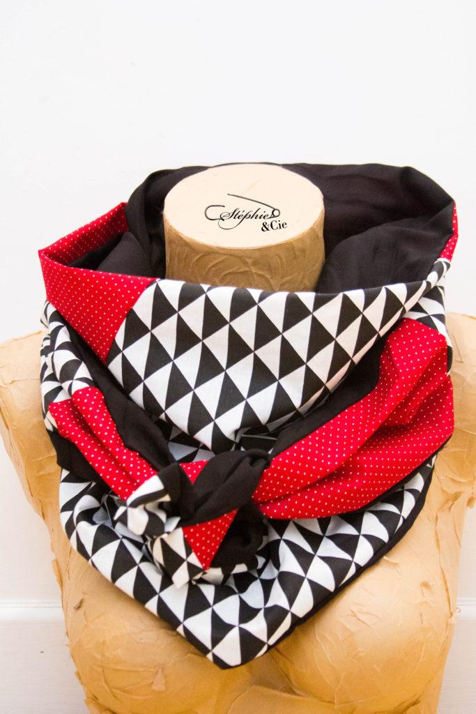 cheche femme patchwork rouge et noir