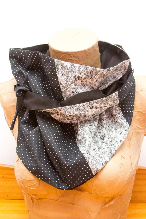 Cheche patchwork noir fleurs