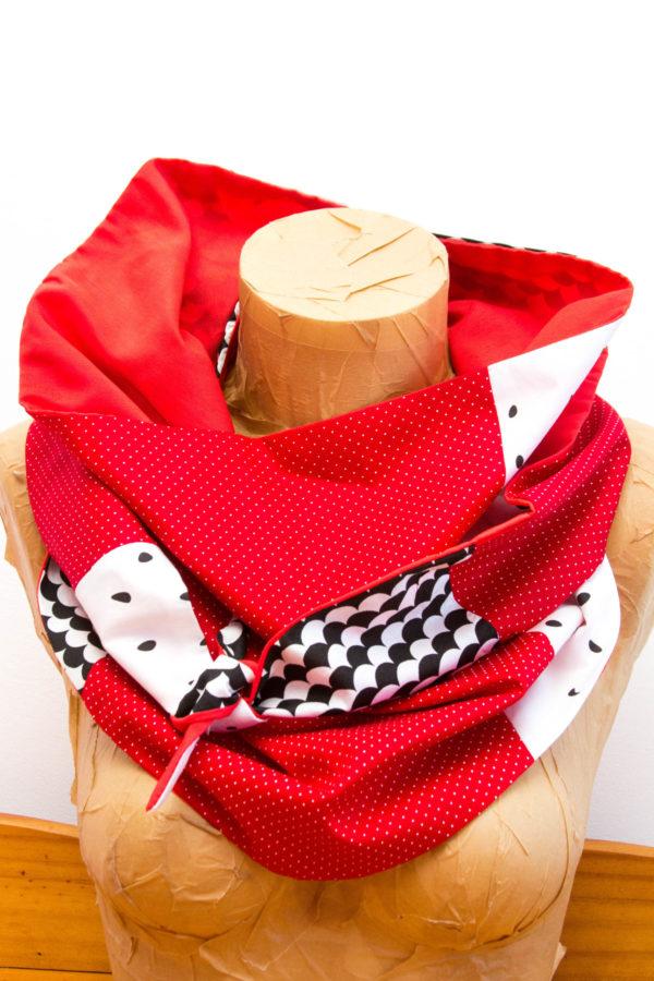 Chèche Rouge noir blanc