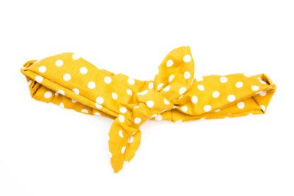 turban headband moutarde gros pois blanc