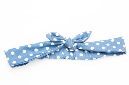 bandeau turban bleu jean a gros pois blanc