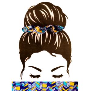 Chouchou Géométrique Jaune bleu