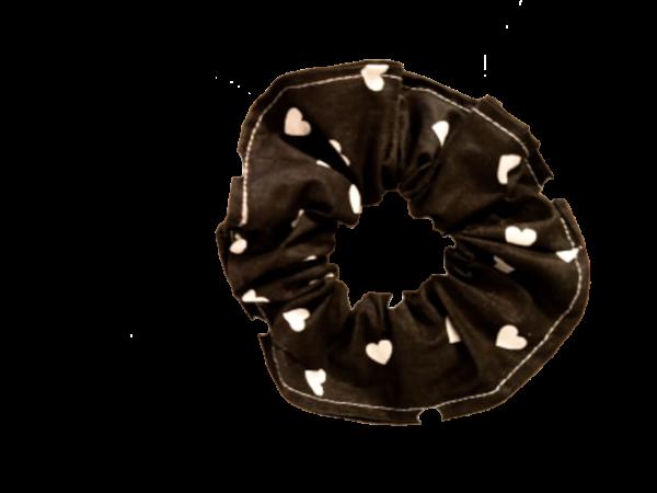 Chouchou noir Coeur blanc