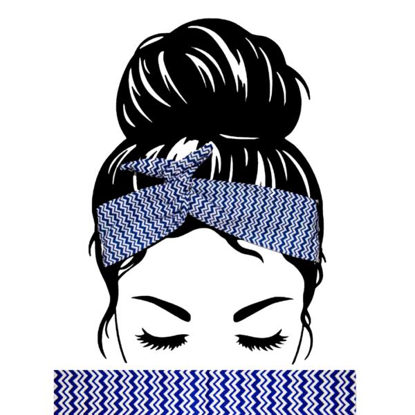 Bandeau Cheveux ZigZag Bleu