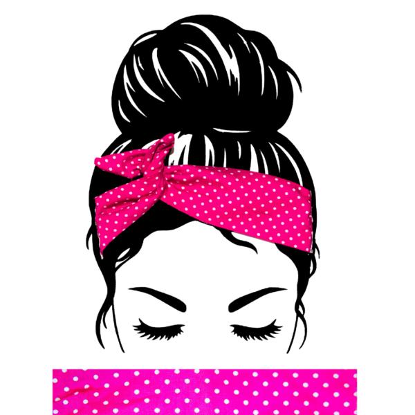 Bandeau Cheveux Fushia Pois