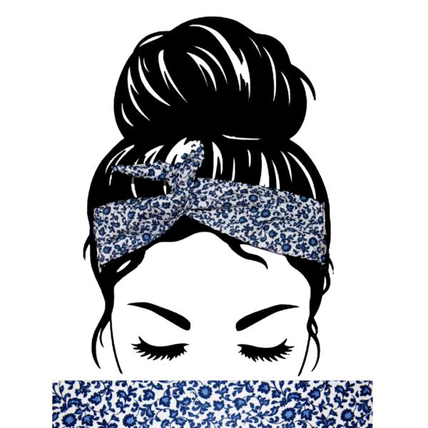 Bandeau Cheveux Fleurs Bleues