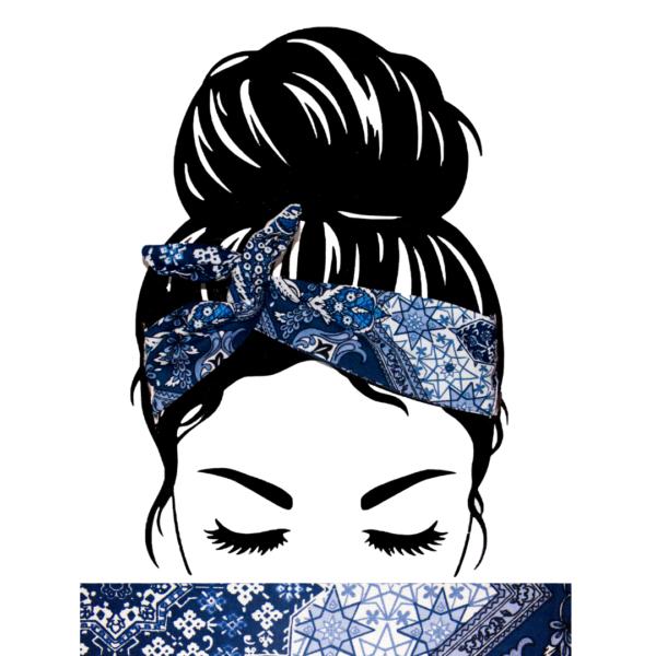 Bandeau Cheveux Paisley Bleu