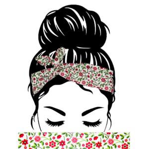 Bandeau Cheveux Fleurs Rouge