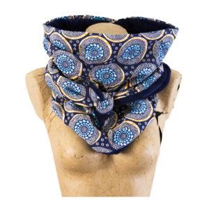 Chèche Mandala Jaune Bleu
